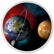 Sun And Planets Round Beach Towel