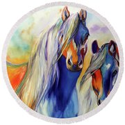 Sun And Shadow Equine Abstract Round Beach Towel