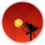 Sun And Silhouette Round Beach Towel