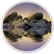 Sun Bathed Rocks Round Beach Towel