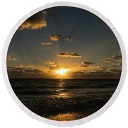Sun Beam Sunrise Delray Beach Florida Round Beach Towel