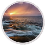 Sun Beams Halibut Pt. Rockport Ma. Round Beach Towel