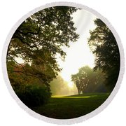 Sun Beams In The Distance Round Beach Towel