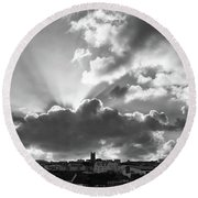 Sun Beams Over Church Round Beach Towel