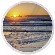 Sun Behind Clouds With Beach And Waves In The Foreground Round Beach Towel
