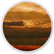 Sun Behind Dark Clouds In Vogelsberg Round Beach Towel