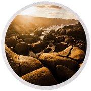 Sun Bleached Australia Beach Round Beach Towel