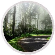 Round Beach Towel featuring the photograph Sun Burning Through The Fog by Katie Wing Vigil