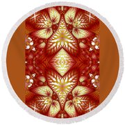 Sun Burnt Orange Fractal Phone Case Round Beach Towel