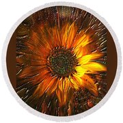 Round Beach Towel featuring the painting Sun Burst by Kevin Caudill