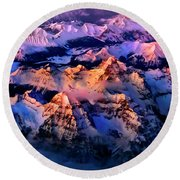 Round Beach Towel featuring the photograph Sun Catcher - Assiniboine by John Poon