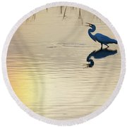 Sun Dog And Great Egret 1 Round Beach Towel