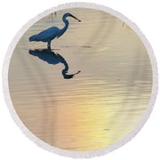 Sun Dog And Great Egret 2 Round Beach Towel