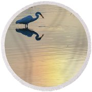 Round Beach Towel featuring the photograph Sun Dog And Great Egret 3 by Rob Graham
