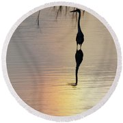 Sun Dog And Great Blue Heron 1 Round Beach Towel