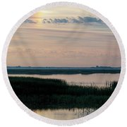 Sun Dog And Great Blue Heron 2 Round Beach Towel