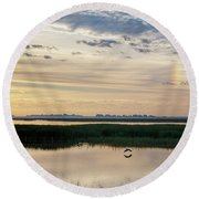 Sun Dog And Herons Round Beach Towel