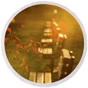 Sun Drenched Bench Round Beach Towel