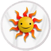 Round Beach Towel featuring the digital art Sun Face No Background by John Wills