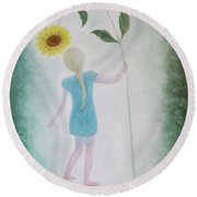 Round Beach Towel featuring the painting Sun Flower Dance by Tone Aanderaa