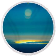 Sun Going Down On The Sound Round Beach Towel