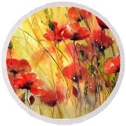 Sun Kissed Poppies Round Beach Towel
