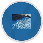 Sun Of Winter Shadows Round Beach Towel