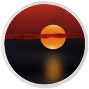 Sun On Red And Blue Round Beach Towel