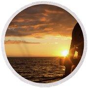 Sun On The Horizon Round Beach Towel