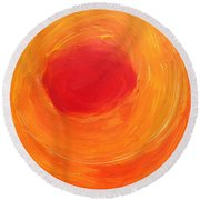 Round Beach Towel featuring the painting Sun One   by Don Koester