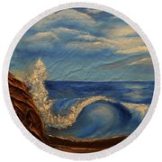 Round Beach Towel featuring the mixed media Sun Over The Ocean by Angela Stout