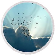 Sun Ray Aerobatics Blue Sky Round Beach Towel