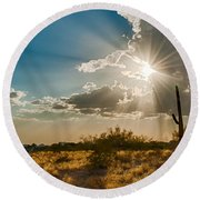 Round Beach Towel featuring the photograph Sun Rays In Tucson by Dan McManus