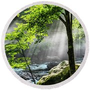 Sun Rays On Williams River  Round Beach Towel