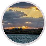 Sun Rays Over The Intracoastal  Round Beach Towel by Nance Larson