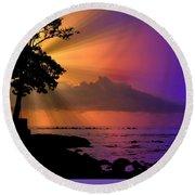 Round Beach Towel featuring the photograph Sun Rays Sunset by Lori Seaman