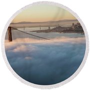 Round Beach Towel featuring the photograph Sun Rise At Golden Gate Bridge by David Bearden