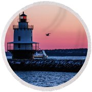 Sun Rise At Spring Point Round Beach Towel