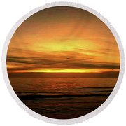Sun Set On The Gulf Round Beach Towel