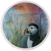 Sun Set Puffin Round Beach Towel