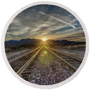 Sun Sets At The End Of The Line Round Beach Towel
