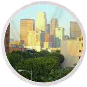 Sun Sets On Downtown Los Angeles Buildings #1 Round Beach Towel