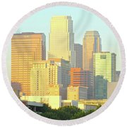 Sun Sets On Downtown Los Angeles Buildings #2 Round Beach Towel