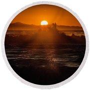Sun Setting Behind Santa Cruz Island Round Beach Towel by John A Rodriguez