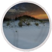 Sun Setting Behind The Dunes 2 Round Beach Towel