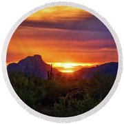 Round Beach Towel featuring the photograph Sun Setting On Red Mountain  by Saija Lehtonen