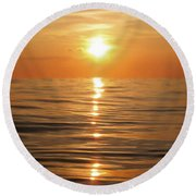 Sun Setting Over Calm Waters Round Beach Towel