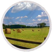 Round Beach Towel featuring the photograph Sun Shone Hay Made by Byron Varvarigos