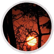 Sun Silhouettes Round Beach Towel by Angela J Wright