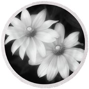 Sun Sisters In Black And White Round Beach Towel